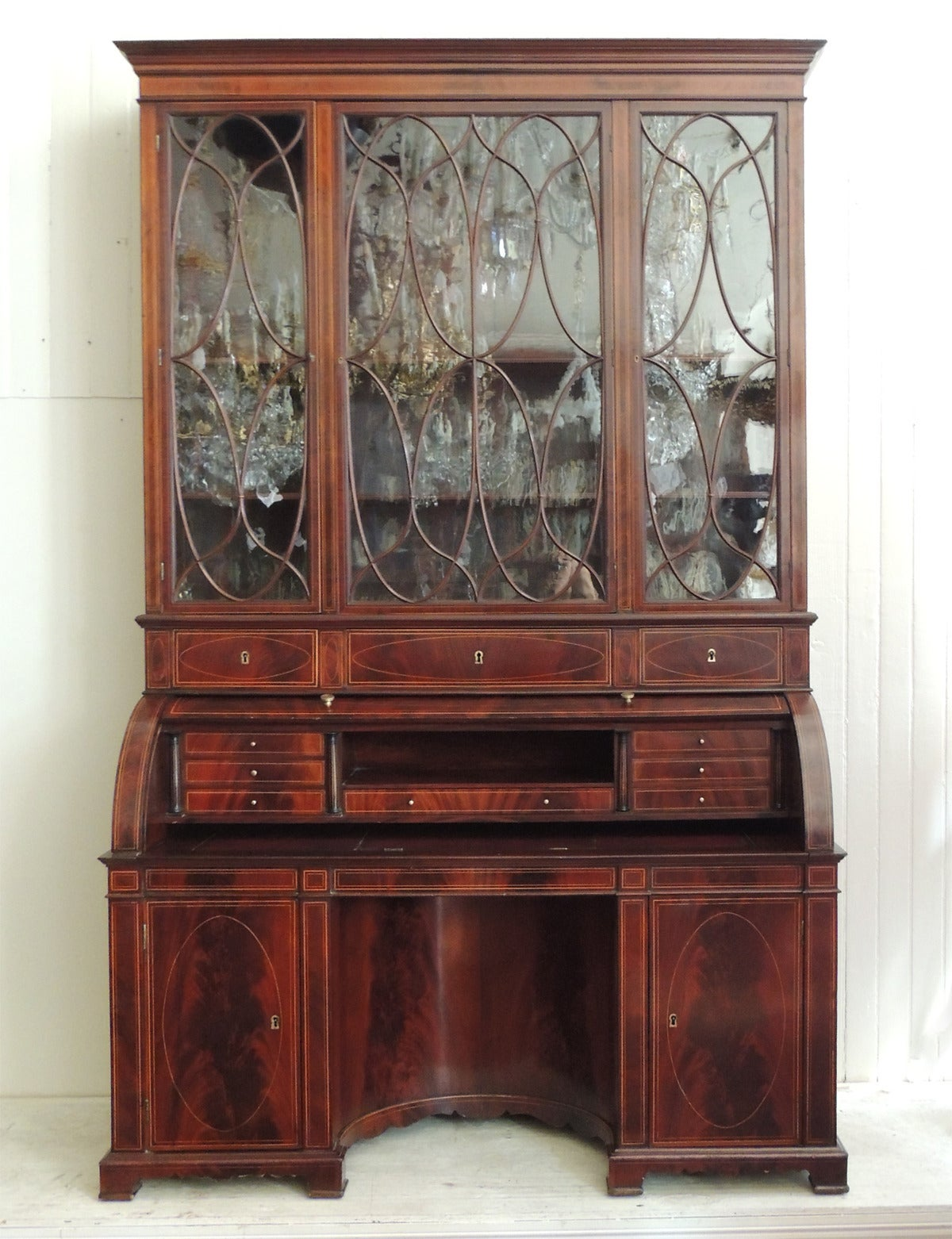 Cylinder Roll Top Secretary For This Stunning 19th Century English Regency Gany Circa 1800 Features An Upper Cabinet