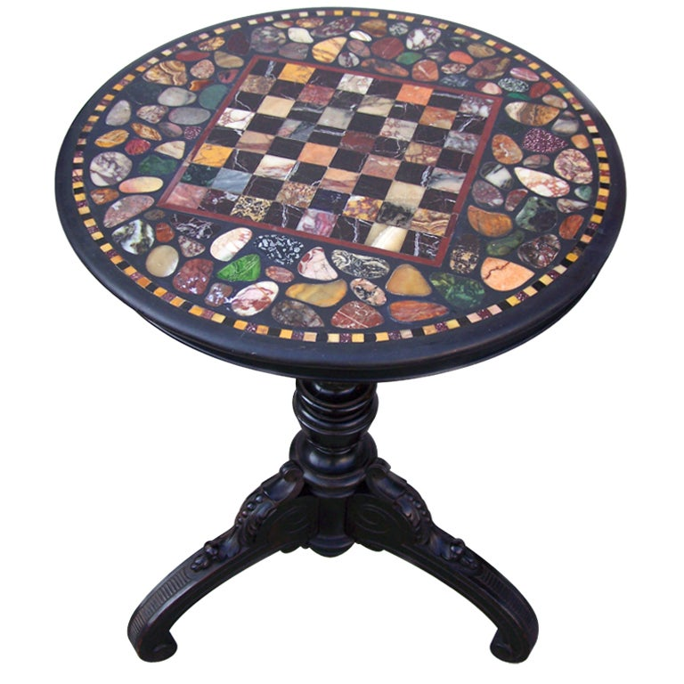 High Quality Marble Top Specimen Chess Table For Sale