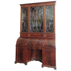 Early 19th C English Regency Mahogany Cylinder Roll Top Secretary