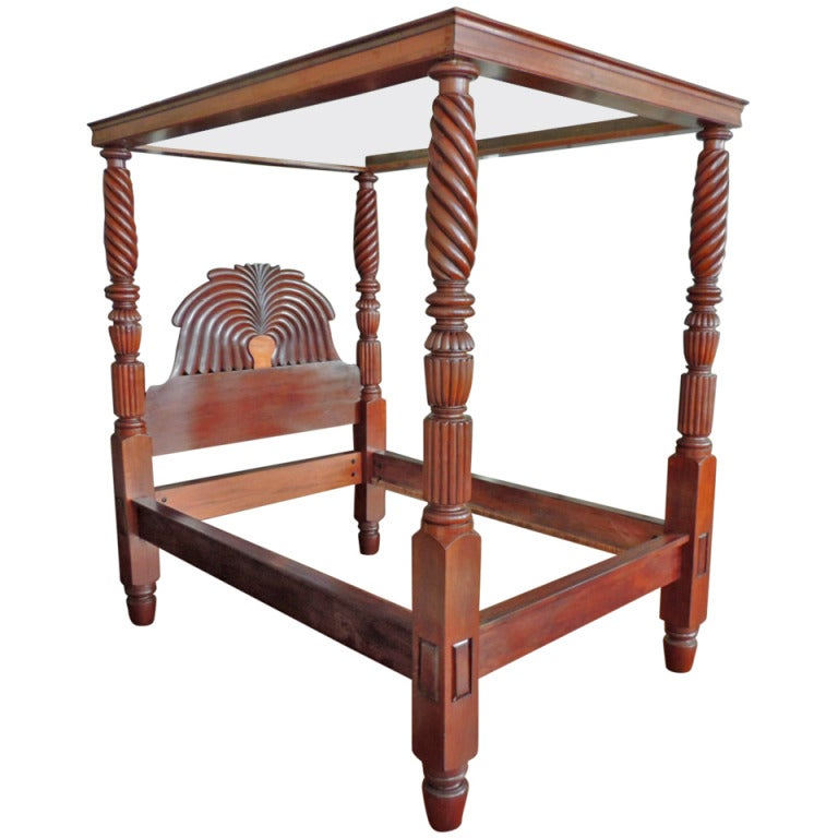 West Indies British Colonial Mahogany Jamaican Waterfall Bed For Sale At 1stdibs