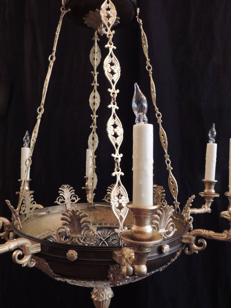 Bronze Early 20th C French Empire Chandelier For Sale