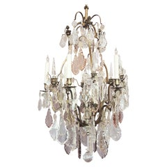 Late 19th C French Crystal and Bronze Chandelier, signed Vian Henri