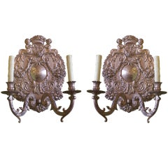 Four 19th C American Baroque-Style Silver Plate Repousse Sconces