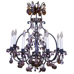 Iron Chandelier with Multi-Colored Fruit Prisims