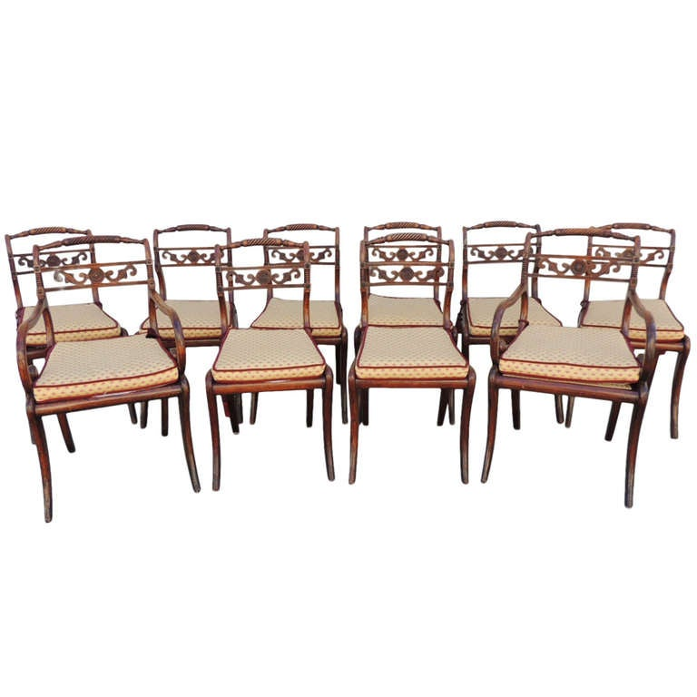 Early 19th C Set Of Ten English Regency Dining Room