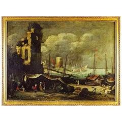 18th century Italian port Scene - Unsigned