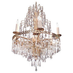 Mid 20th C Swedish Crystal and Brass Chandelier