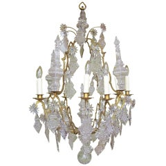 18th C Venetian Rococo Crystal and Bronze Chandelier