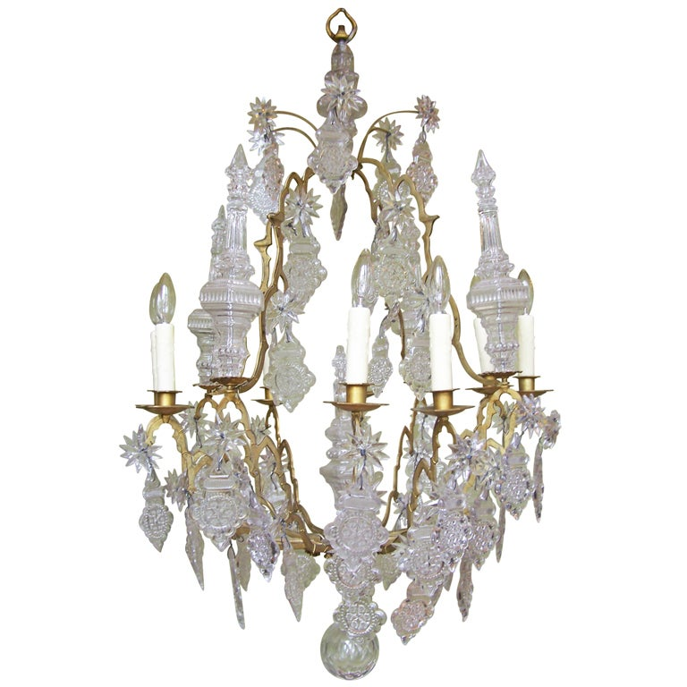 Venetian Bronze Chandelier: 18th C Venetian Rococo Crystal And Bronze Chandelier For