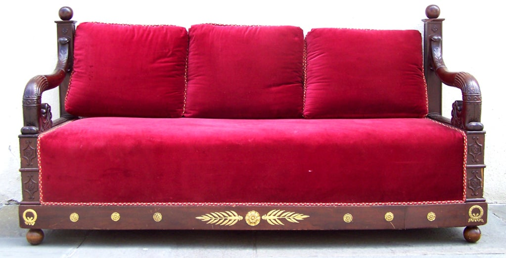 Early 19th C Italian Empire Mahogany Day Bed  or Bench 2