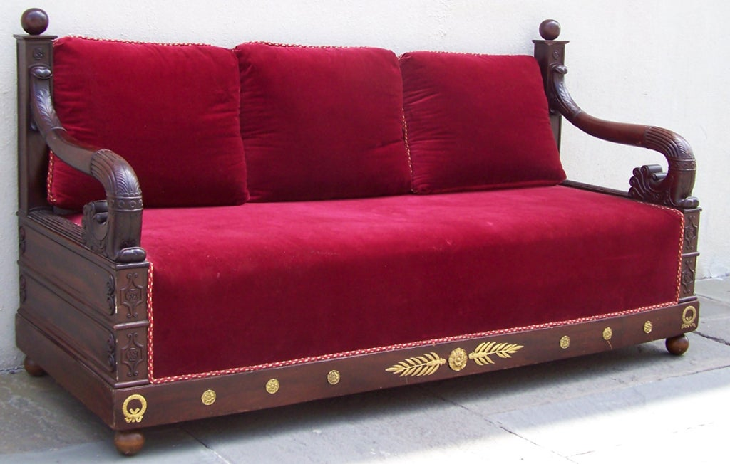 Early 19th C Italian Empire Mahogany Day Bed  or Bench 3