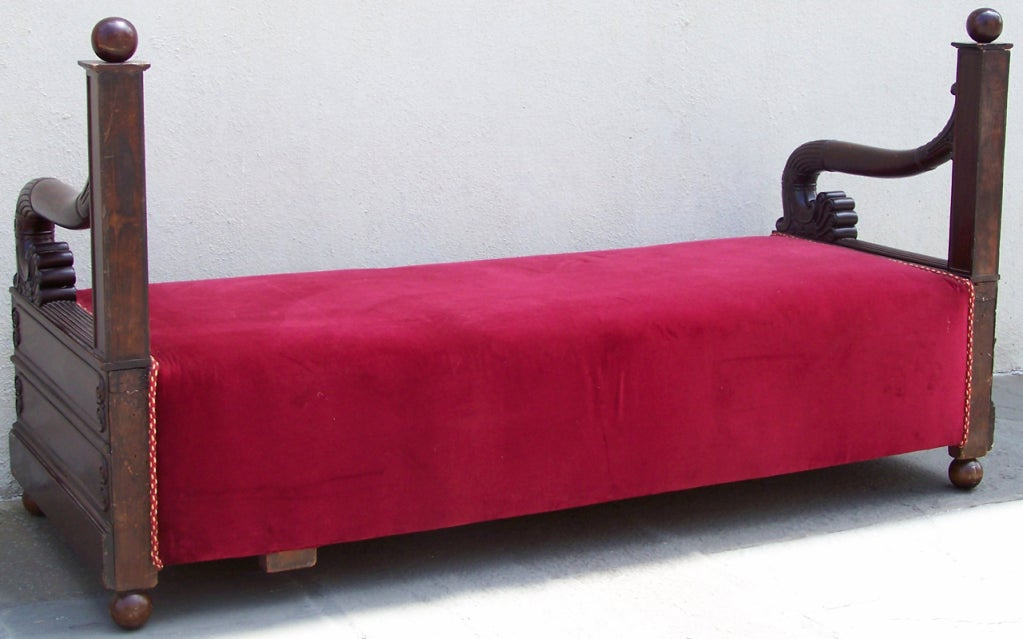 Early 19th C Italian Empire Mahogany Day Bed  or Bench 10