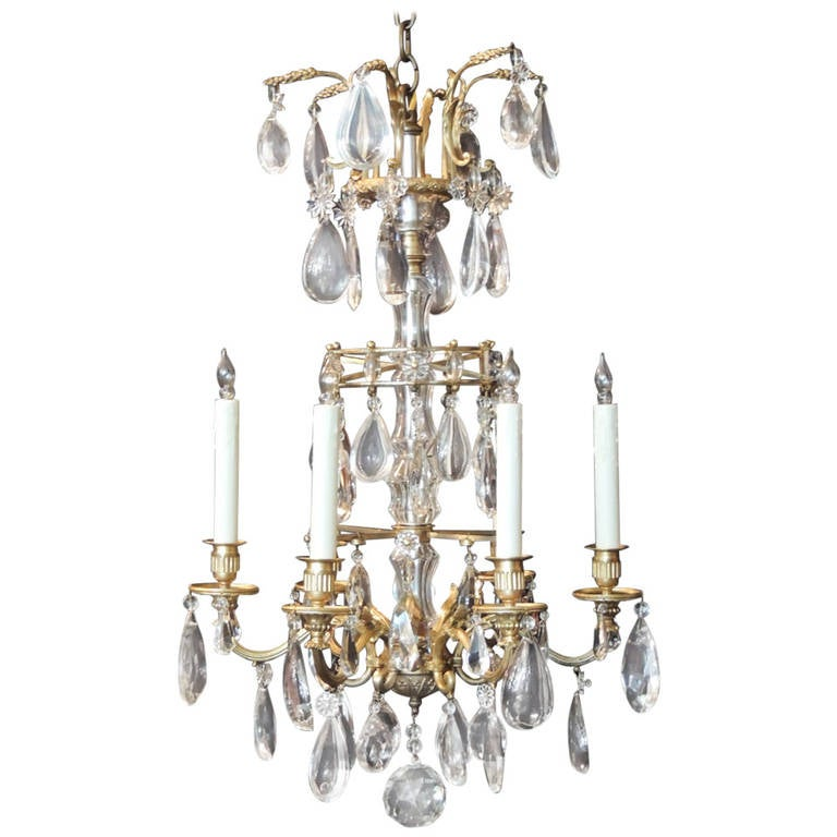Early 20th C French Crystal and Bronze Chandelier, attributed to Maison Jansen