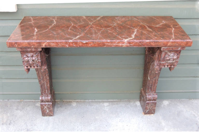 Pair Of 20th C Italian Baroque Faux Marble Console Tables In Excellent  Condition For Sale In