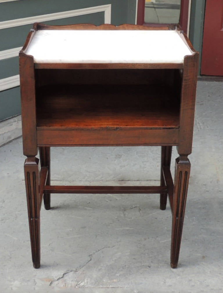 18th C Italian Walnut Work Table With Marble Top For Sale