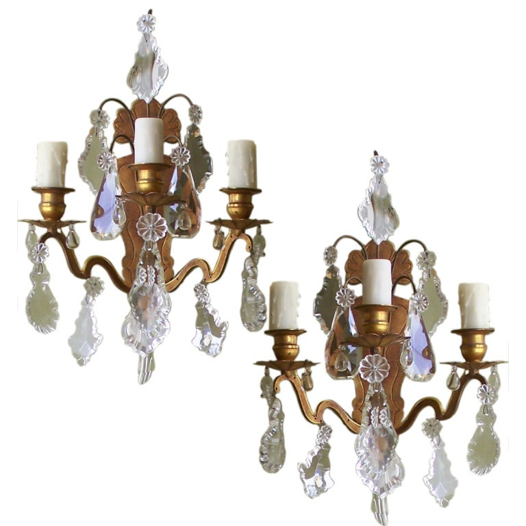 Pair of Italian Crystal, and Brass Sconces at 1stdibs