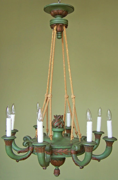 Early 20th Century Italian Empire Style Painted Wooden Chandelier 3