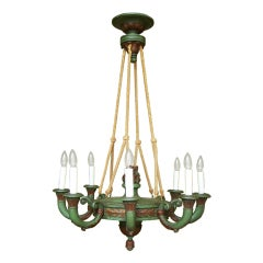 Early 20th Century Italian Empire Style Painted Wooden Chandelier