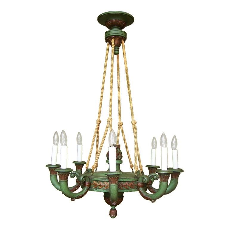 Early 20th Century Italian Empire Style Painted Wooden Chandelier 1