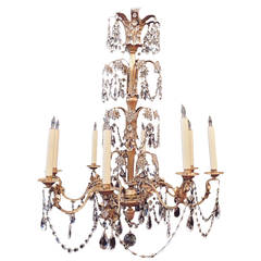 20th C French Grand Bagues Tole and Crystal Chandelier
