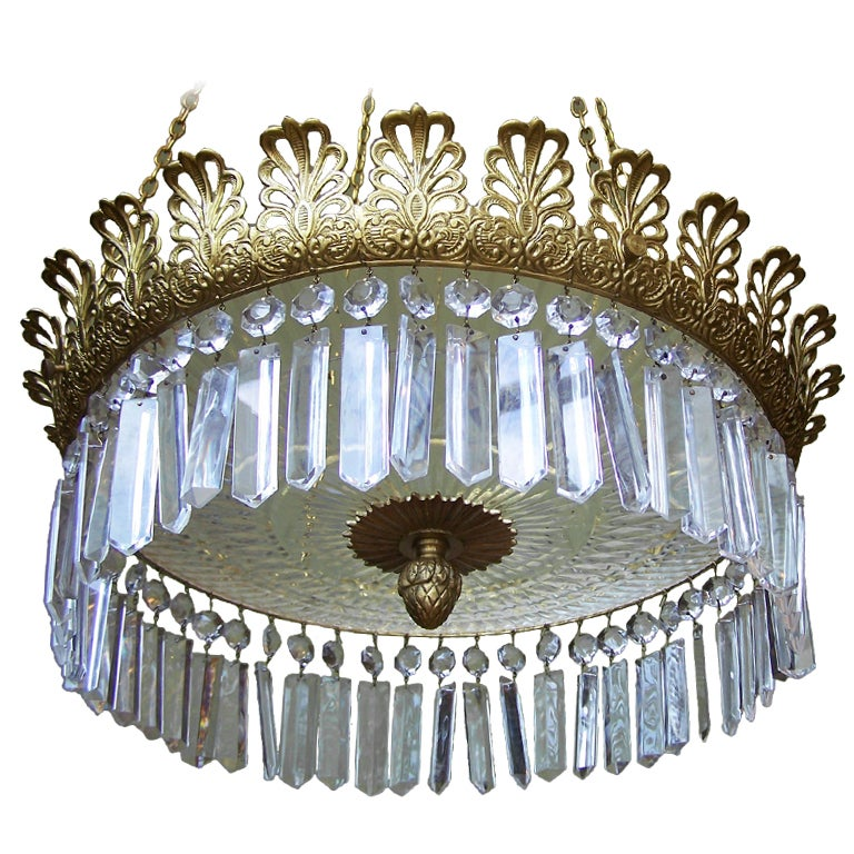 Regency 1810 Crystal and Brass Chandelier