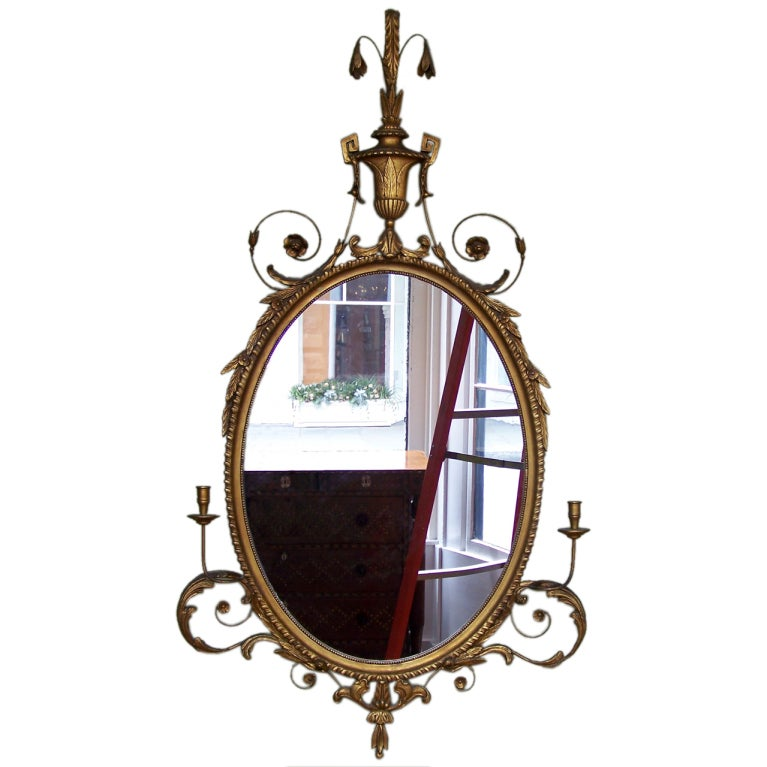 Early 20th Century Adams Style Oval Mirror