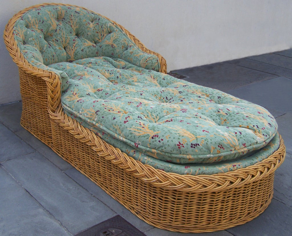 20th century wicker chaise lounge at 1stdibs for Century furniture chaise lounge