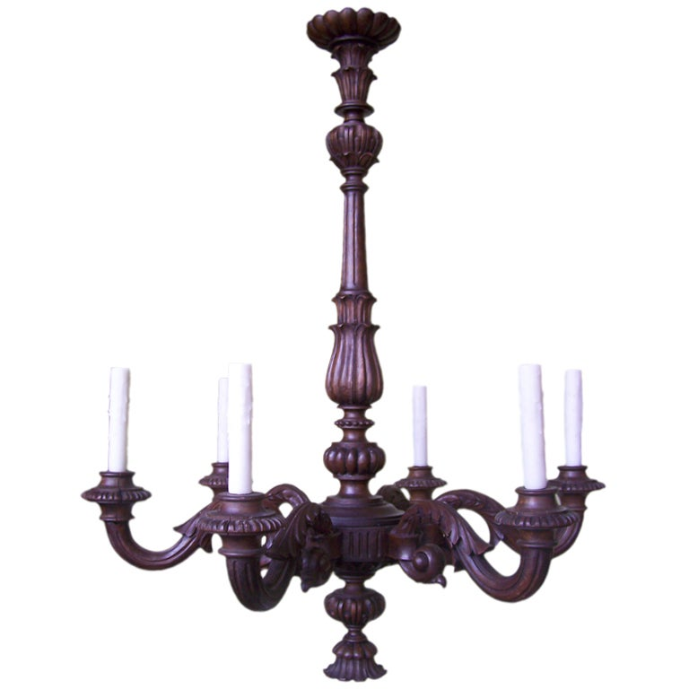 Grand 1920s Carved Wood Italian Chandelier For Sale at 1stdibs