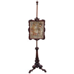 Late 18th C Scottish Regency Fire Screen with Needlepoint