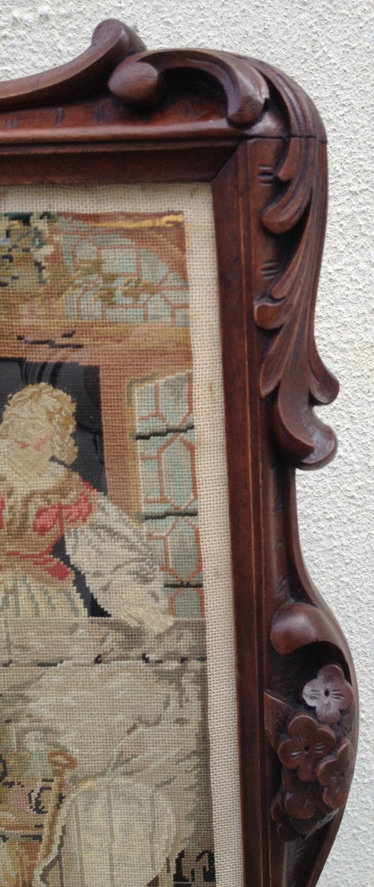 Late 18th C Scottish Regency Fire Screen with Needlepoint For Sale 2