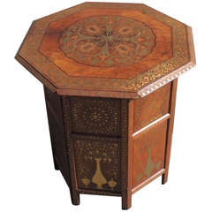 19th Century Rare Anglo Indian Octagonal Metal Inlaid Traveling Table