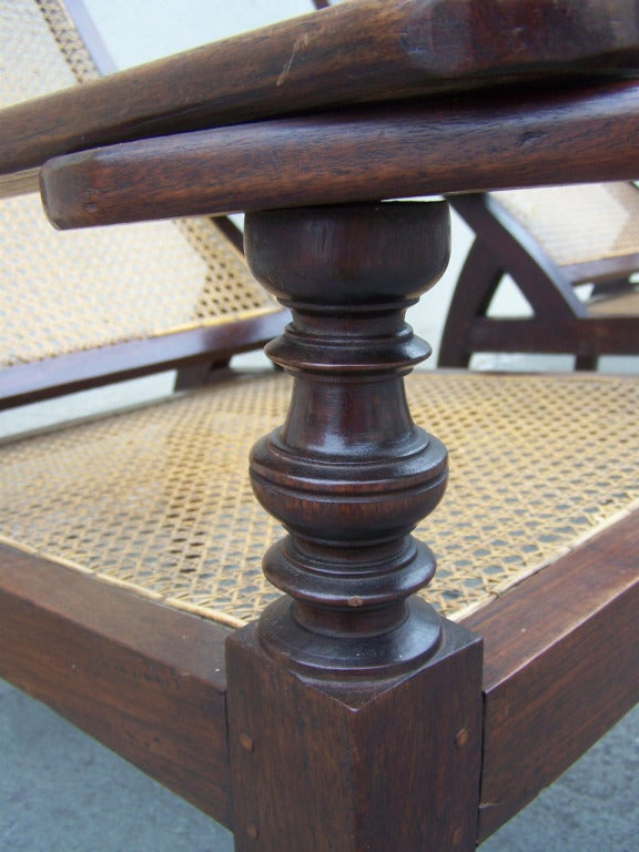 True Pair of Early 19th C West Indies Mahogany and Cane Planter's Chairs In Excellent Condition For Sale In Charleston, SC