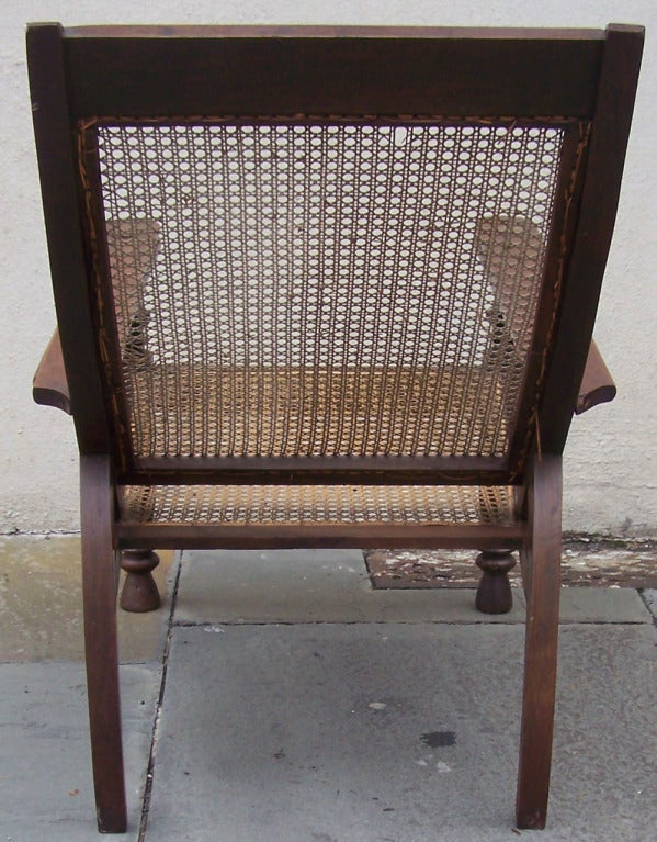 19th Century True Pair of Early 19th C West Indies Mahogany and Cane Planter's Chairs For Sale