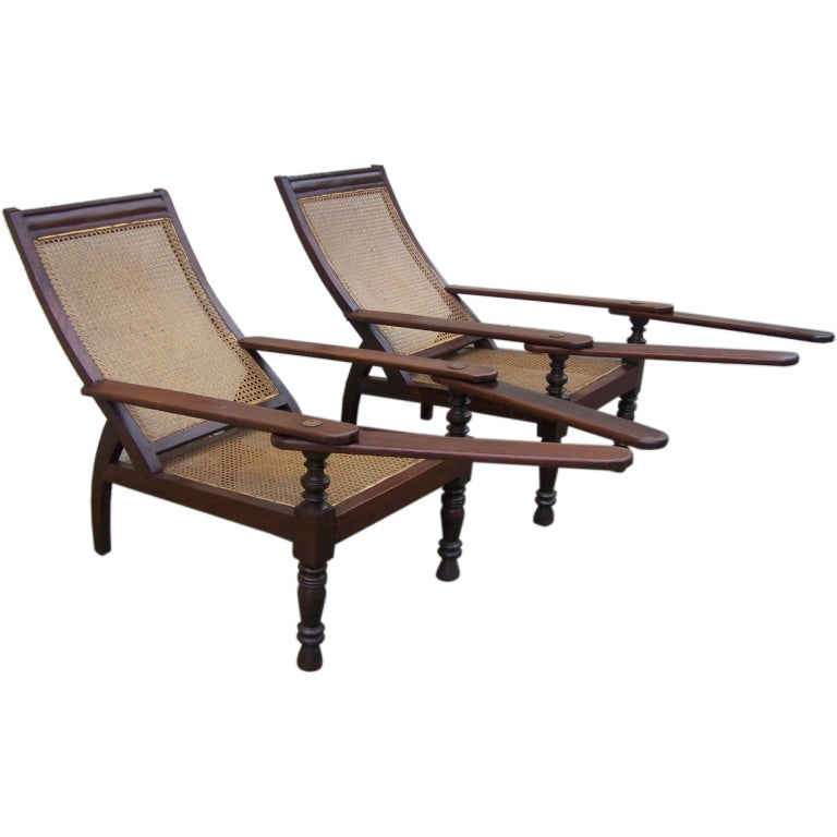 True Pair of Early 19th C West Indies Mahogany and Cane Planter's Chairs