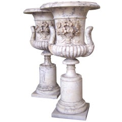 Pair of Late 18th Century Carrara Marble Urns