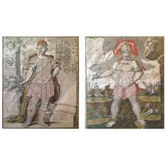 "18th C Pair of Engravings ""Allegory and European Monarchs"""