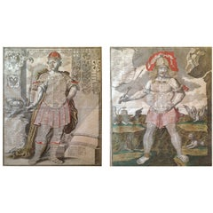 """18th C Pair of Engravings """"Allegory and European Monarchs"""""""