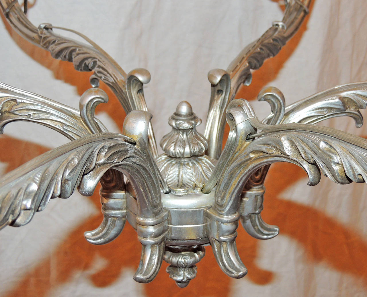 Late 18th C Italian Baroque Nickeled Bronze Chandelier For Sale 5