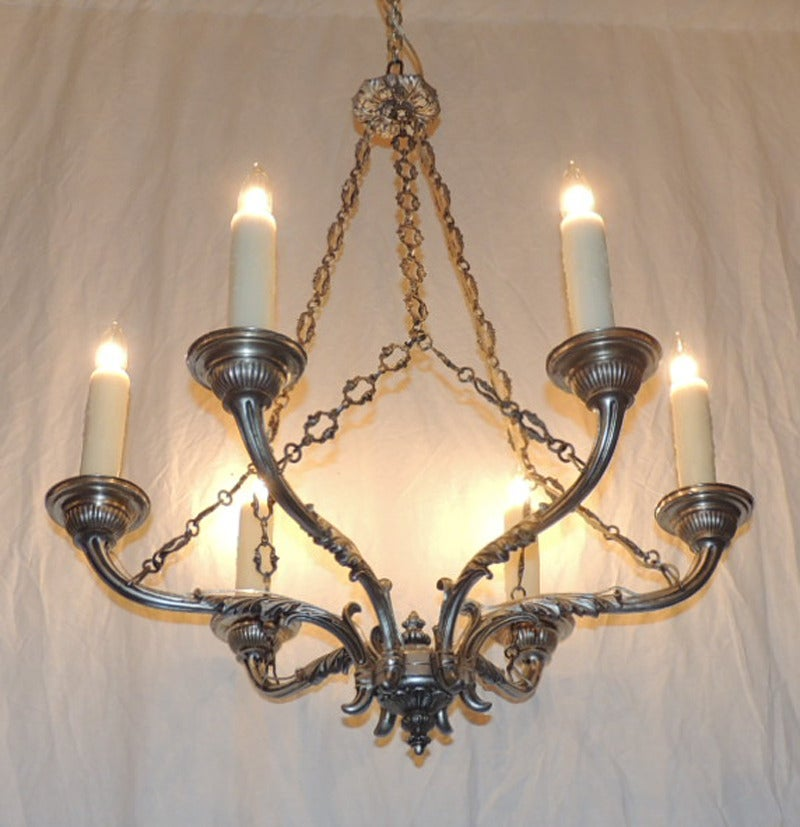 Plated Late 18th C Italian Baroque Nickeled Bronze Chandelier For Sale