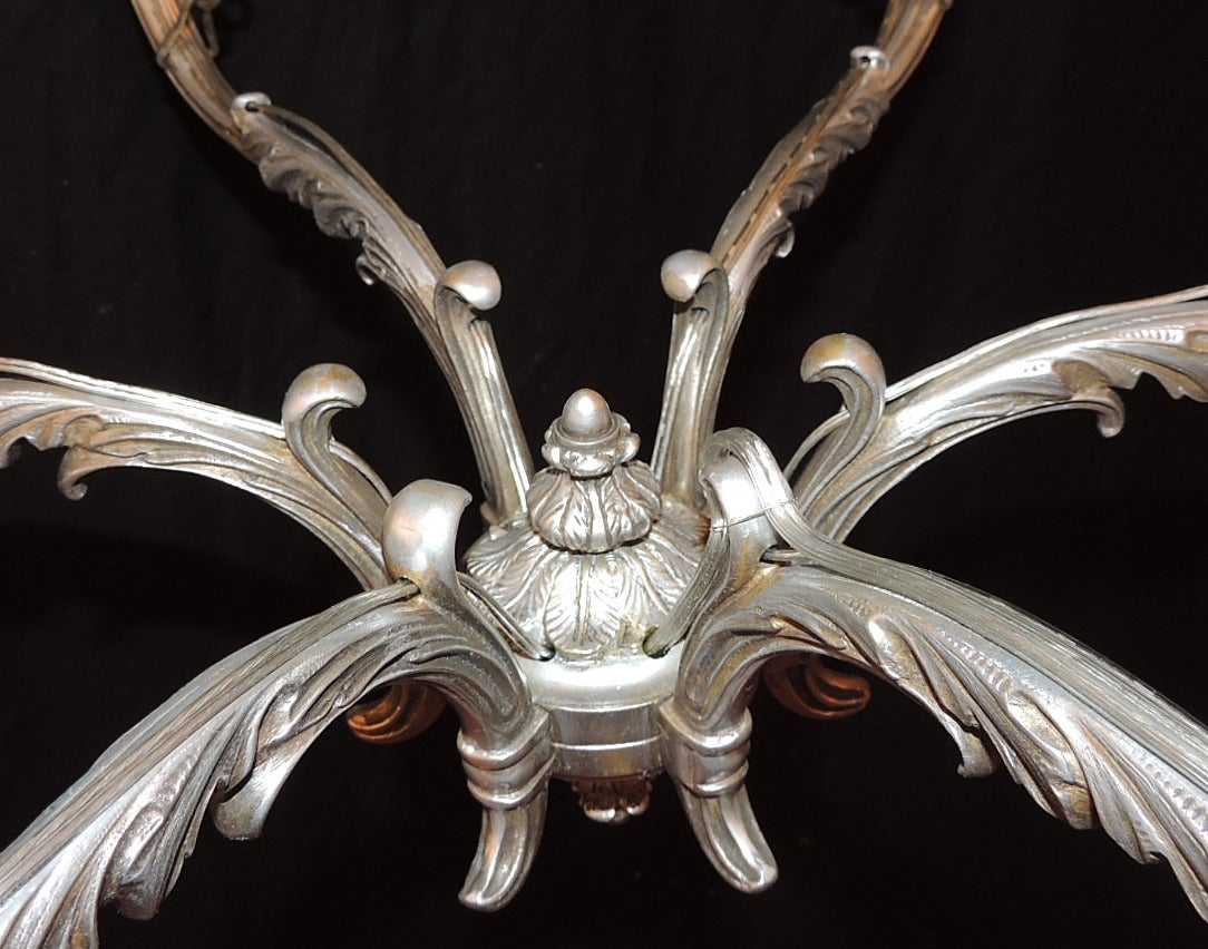 Late 18th C Italian Baroque Nickeled Bronze Chandelier In Excellent Condition For Sale In Charleston, SC