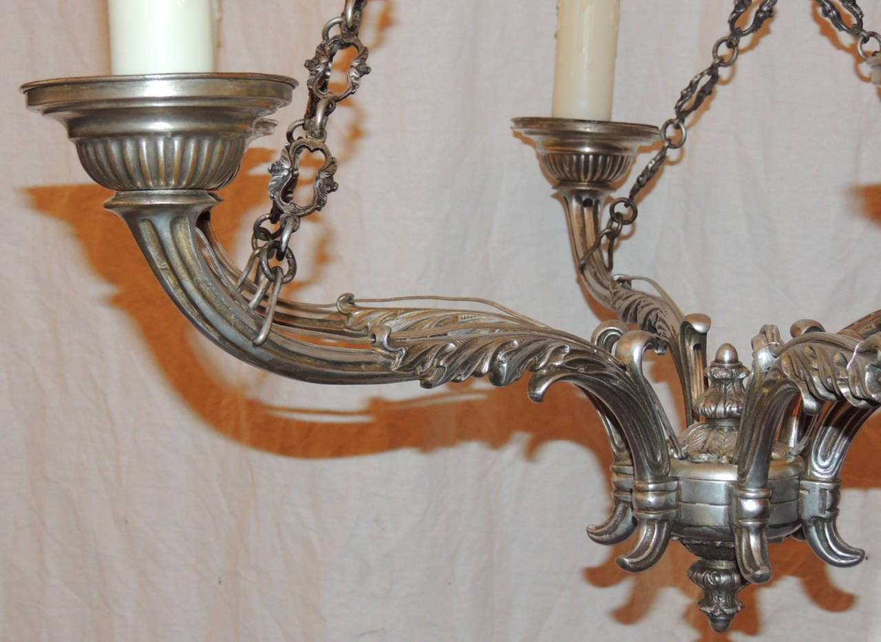 Late 18th C Italian Baroque Nickeled Bronze Chandelier For Sale 1