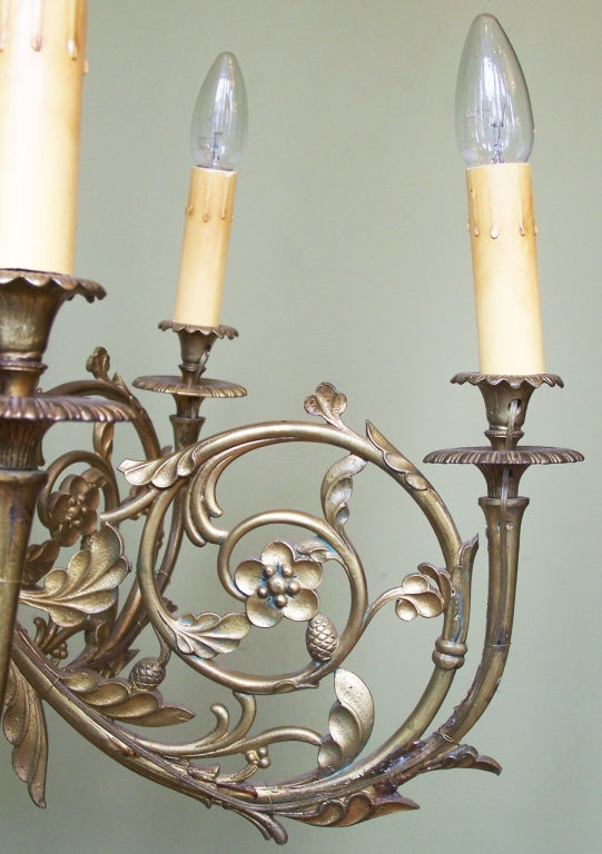 1930s french brass art nouveau chandelier at 1stdibs for Chandelier art nouveau