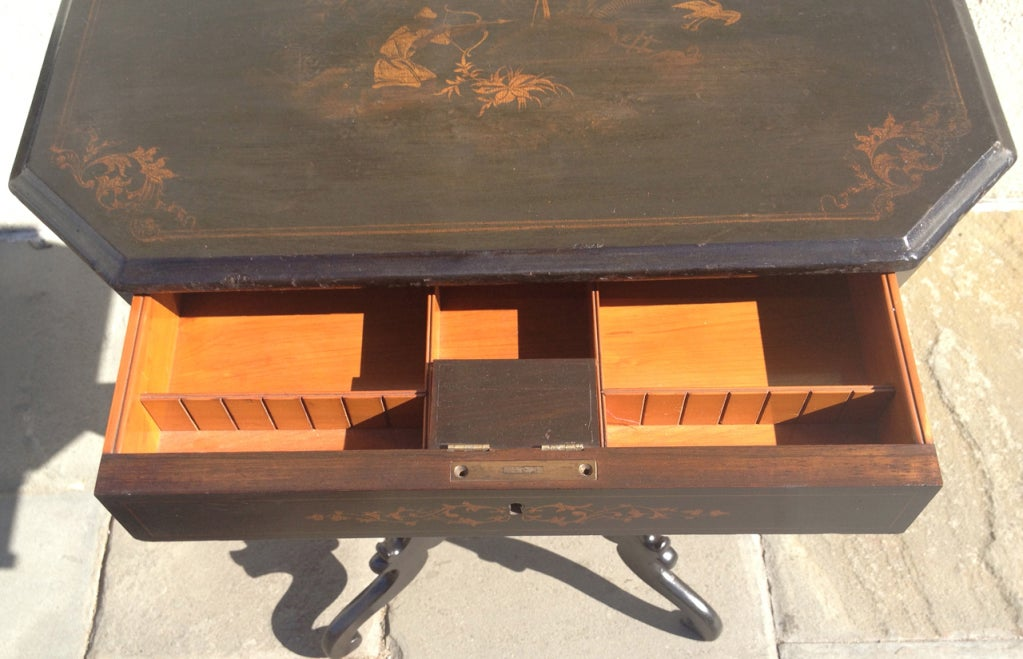 English Regency Chinoiserie Ladies Work Table For Sale 7