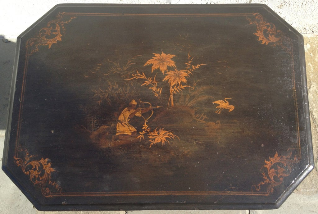 English Regency Chinoiserie Ladies Work Table For Sale 1