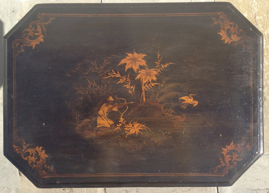 English Regency Chinoiserie Ladies Work Table For Sale 3