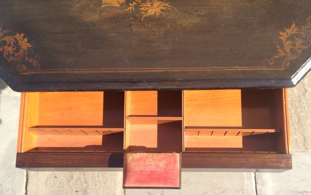 English Regency Chinoiserie Ladies Work Table For Sale 6