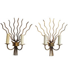 Pair of Early 20th C Barcelona Freeform Gilt Sconces