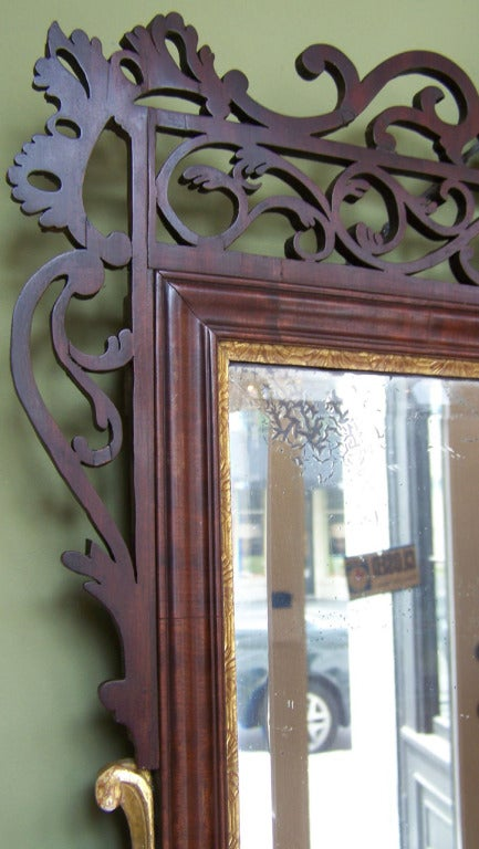 18th C Dutch Queen Anne Mahogany Filigree and Giltwood Mirror 3