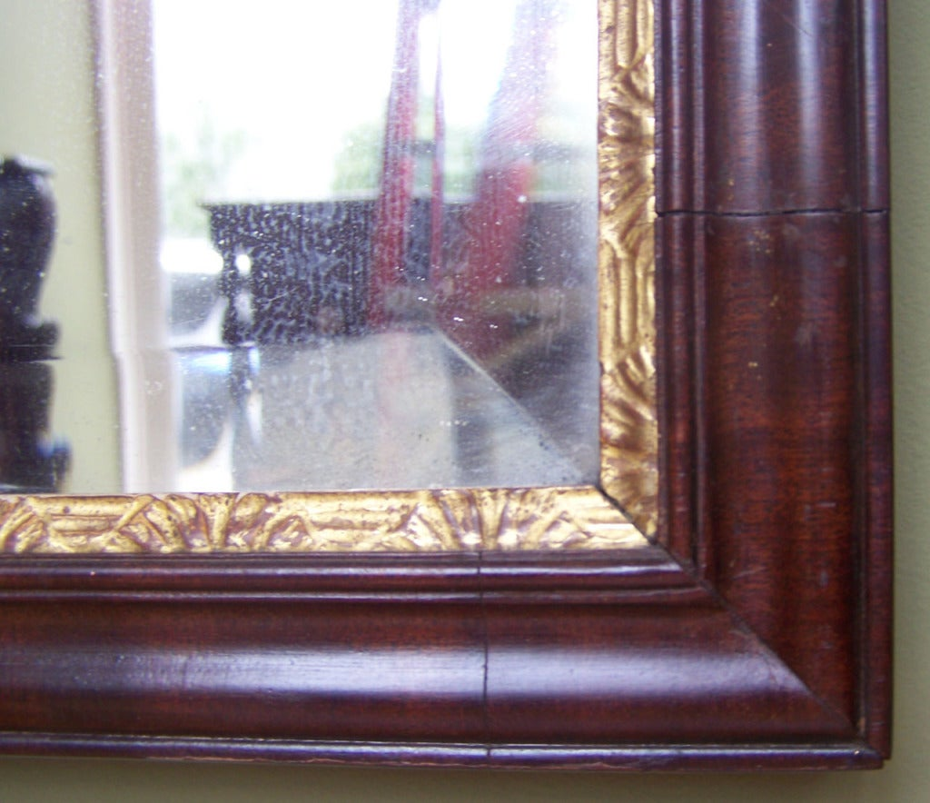 18th C Dutch Queen Anne Mahogany Filigree and Giltwood Mirror For Sale 2