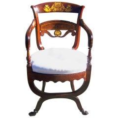 Early 19th C Italian Curule Armchair with Gold Peacock